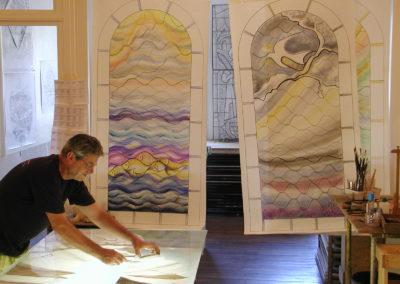 Barbizon, cité des peintres - Vitraux création d'Yvette Fringant - carton avant peinture