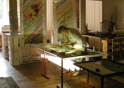 Barbizon, cité des peintres - Vitraux création d'Yvette Fringant - Yvette Fringuant à la peinture sur verre